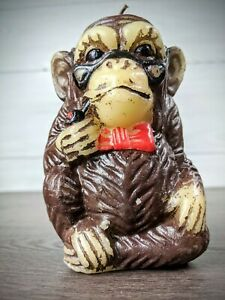Vintage-Animal-Delights-Hand-Painted-Monkey-w-Pipe-Candle-British-Hong-Kong