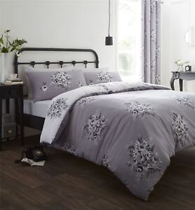 FLORAL-FLOWER-BOUQUET-GREY-WHITE-SINGLE-COTTON-BLEND-DUVET-COMFORTER-COVER