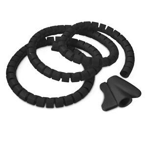 Flexibler-Kabelschlauch-schwarz-inklusive-Einfaedler-praktisch-kuerzbar-Kunststoff