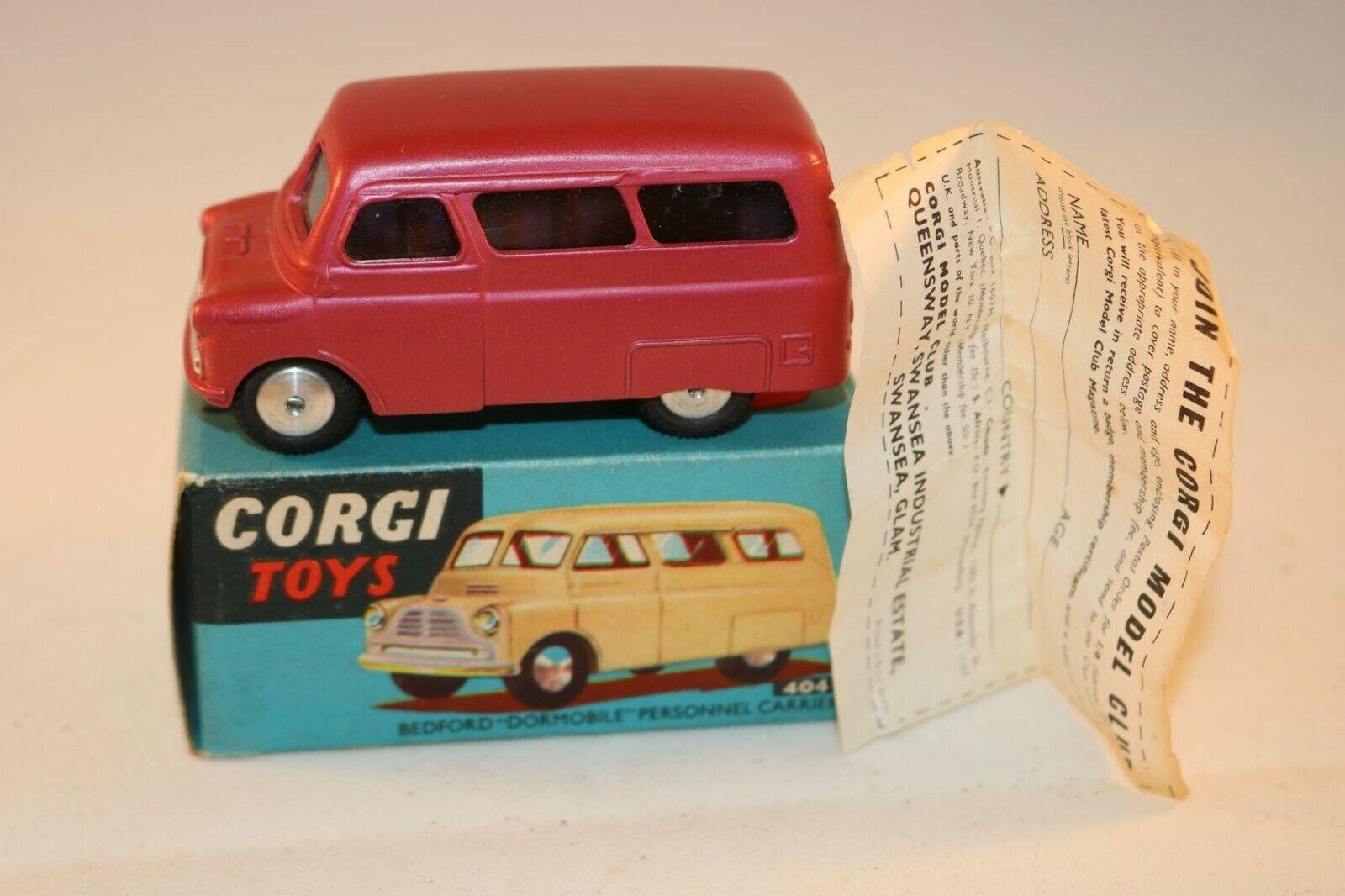 Corgi giocattoli 404 Bedford Dormobile Cerise 99% mint in scatola tutti original SUPERB