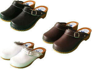 Womens-Hand-Made-Clogs-Slip-On-Sandals-Ladies-Wooden-Sole-Leather-Size-US-6-10