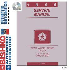 1986 Dodge Truck Ramcharger Shop Service Repair Manual CD Engine Drivetrain OEM