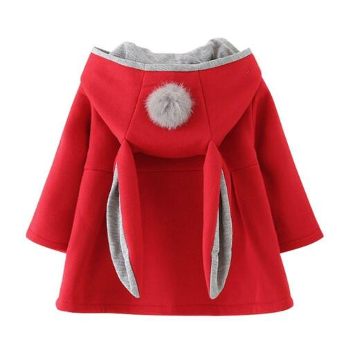 Winter Baby Child Girls Long Sleeve Coat Rabbit Ear Hooded Casual Pompon Jackets