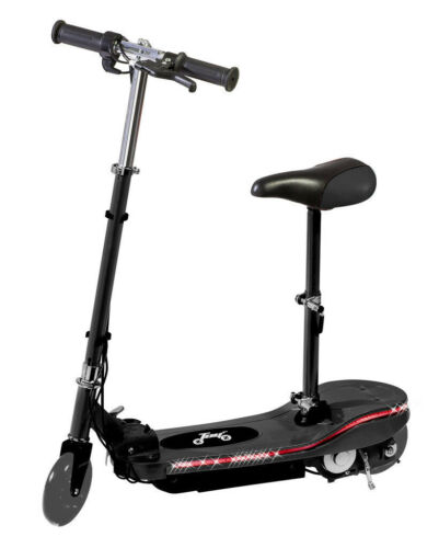 New Kids Electric E Scooter 24V Ride On Toy LED Black With Seat