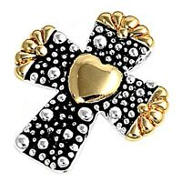 Two-tone Cross Pendant Sterling Silver 925 Height: 25 Mm Religious Jewelry Gift