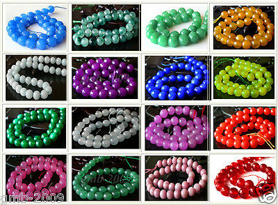 """Beautiful 10mm Natural Faceted Jade Round Gemstone Loose Beads 15""""AAA+ 16 Colors"""