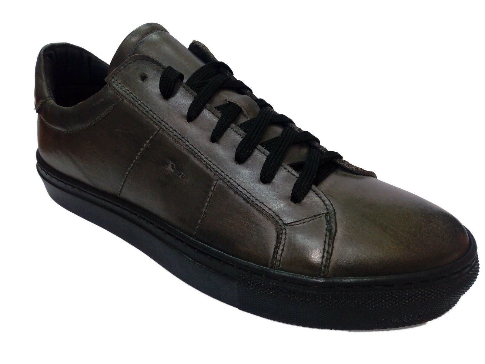 SCARPE UOMO  WEENCHESTER  UOMO SNEAKERS BASSA in PELLE GRIGIO MADE in ITALY TG 41 b3bbcf