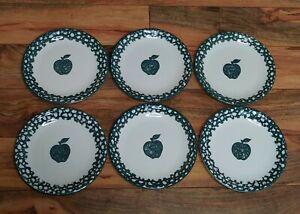 Tienshan Folk Craft Set of (6) Apple Green Sponge Salad/Dessert Plates Stoneware