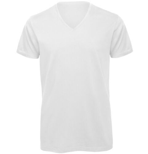 B/&C Collection Organic Cotton V-Neck T-Shirt TM044 Mens Plain Cotton Fitted Tee