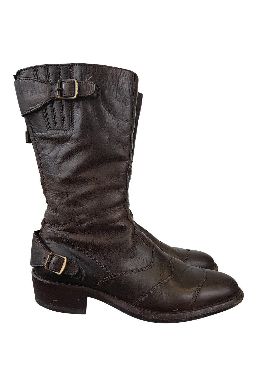 BELSTAFF  negro marrón Roadmaster Pantorrilla botas (UE 38)