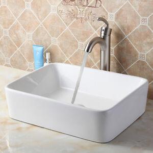 ... Rectangle White Ceramic Vessel Sink & Nickel Faucet Combo 9924 eBay
