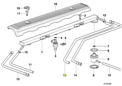 BMW E36 M50 Moteur M52 Carburant Rail retour tuyau pipe line 13311744276