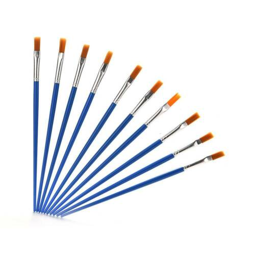 10Pcs//Set Paint Brush Set New Nylon Blue Brush Kids Watercolor Drawing Painting