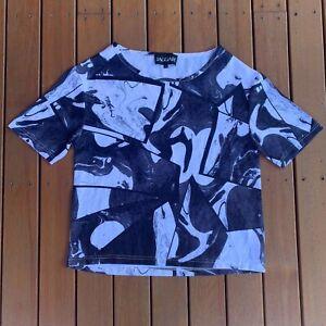 Jaggar-Australian-Designer-Abstract-TShirt-Black-amp-Grey-Casual-Soft-Size-S