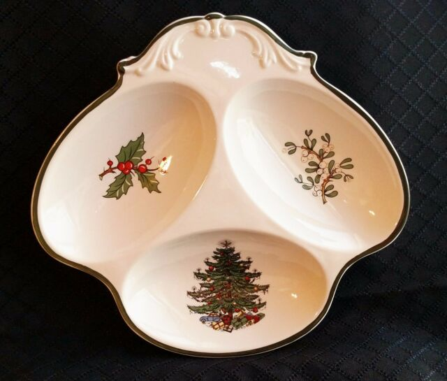 CUTHBERTSON Christmas TREE Holly Mistletoe RELISH / Nuts 3-SECTION Serving  Dish - CUTHBERTSON Christmas TREE Holly Mistletoe RELISH / Nuts 3-SECTION