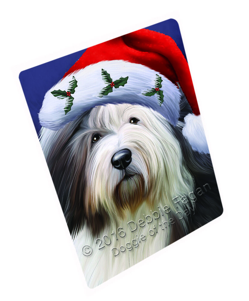 Old English Sheepdog Dog Holiday Santa Hat Woven Throw Sherpa Blanket T91