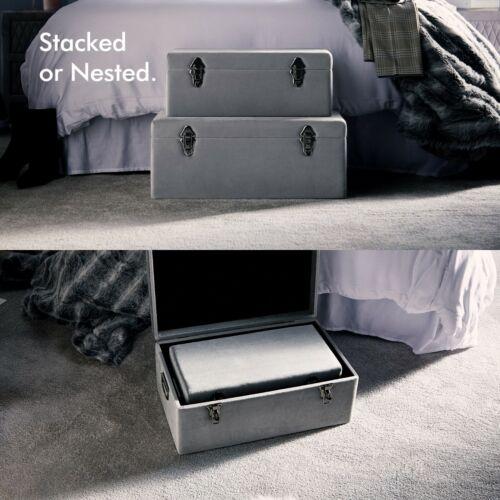 Beautify Set of 2 Trunks Metallic Silver Storage Chest Velvet Bedding Box Case