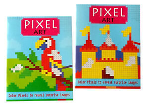 2 Pack Pixel Art Hidden Image Color By Number Books Kids Adults