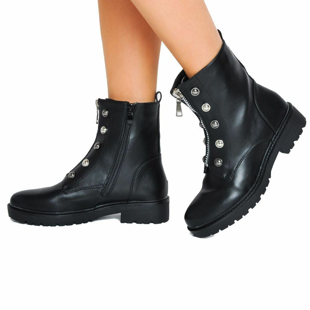 Woman's Shoes Cleated Front Metal Zip Combat Biker Ankle Boots Black