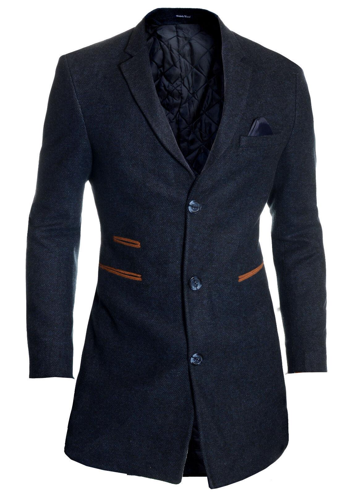 Homme élégant manteau hiver cachemire cachemire hiver laine 3/4 longue en daim col automne Pardessus 8d5a2b