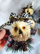 Mackenzie Childs COURTLY CHECK BOW PINE CONE OWL PINE SWAG ORNAMENT NEW SM