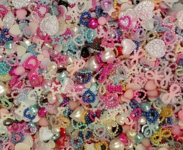 DIY embellishments!100-120 randomly selected Mix, decoden Cell cases, DIY,Deco