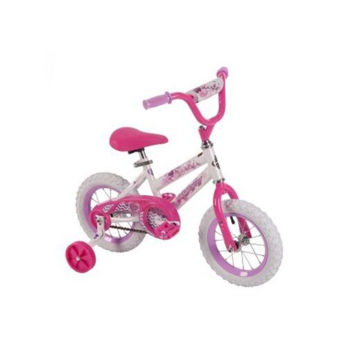 12 inch Huffy Girls' Sea Star Bike With Training Wheels Steel Frame White Pink