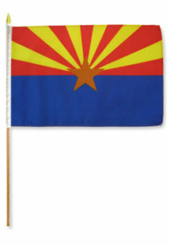 "12x18 12/""x18/"" Wholesale Lot of 6 State of Arizona Stick Flag wood Staff"