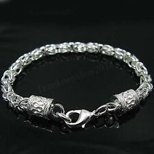 Wholesale 925 Sterling Silver SP Dragon Head Strong Mens Braclet 8inch H096