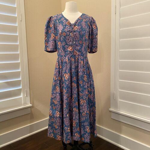 Laura Ashley Great Britain Vintage 80's Dress Blue