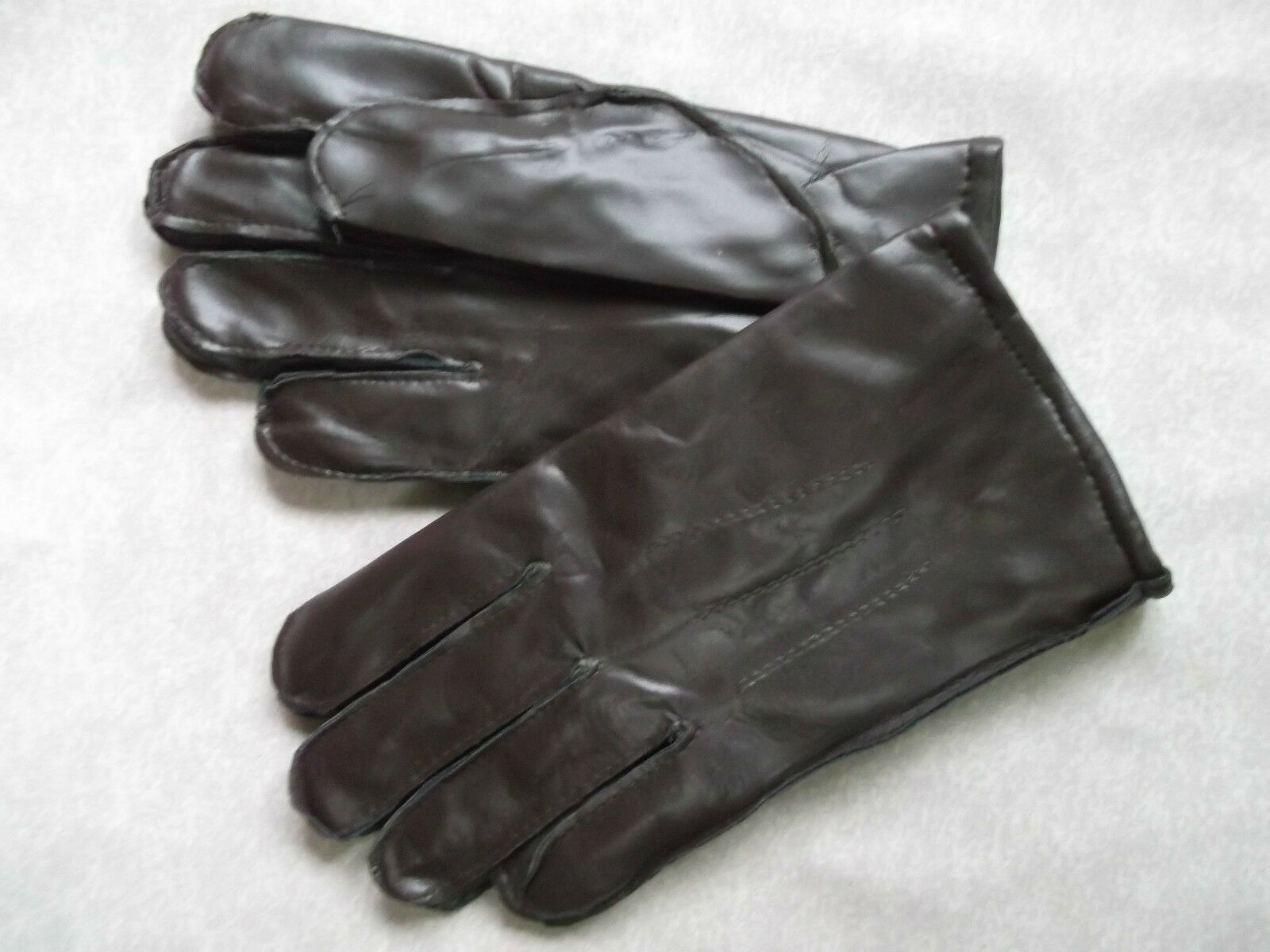 Driving Gloves MENS Vintage Retro NEW Dark Brown Lined WARM Faux Leather