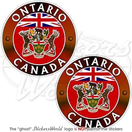 """3/"""" ONTARIO Provincia Canada Canadese 75mm Adesivi in Vinile Casco Stickers x2"""