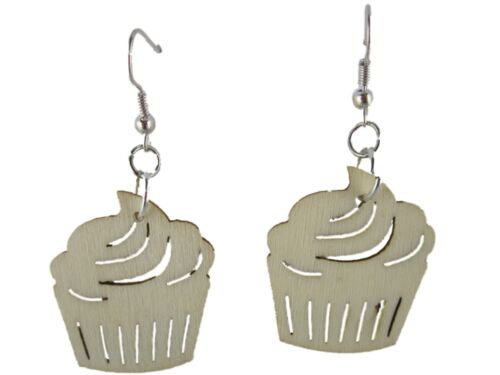 Aretes joyas colgadores cupcake pastel pastelito Magdalena madera ecológica Upcycling nuevo