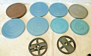 6-034-amp-7-034-8mm-Movie-Film-Metal-Canisters-One-16mm-Canister-amp-Two-5-034-Reels