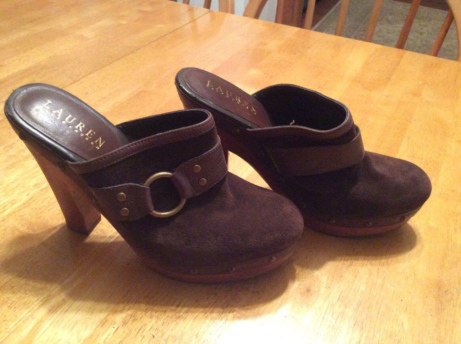 in linea Ralph LAUREN Marrone Suede Clogs Slides Mules scarpe scarpe scarpe Platform Wood Heel Dimensione 6.5  consegna gratuita e veloce disponibile