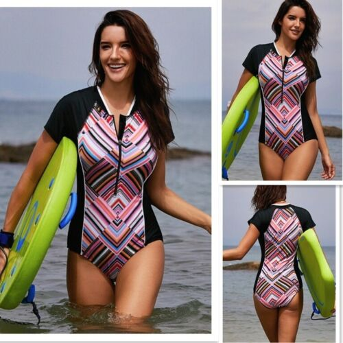 Womens Zip Front Printed Half Sleeve//Long Sleeve One Piece surfing Swimsuit