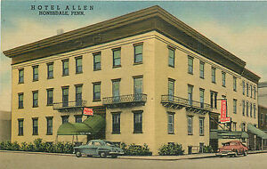 Image Is Loading Honesdale Pa Hotel Allen 1958 Linen P C