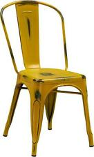 DISTRESSED YELLOW METAL INDOOR STACKABLE CHAIR