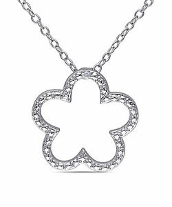 Sterling Silver Diamond Flower Pendant Necklace H-I I2-I3