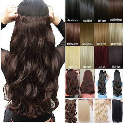 Human made clip in on hair extensions one piece half full head synthetic clip on