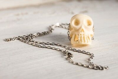 Hand Carved Bone Skull Pendant Chain Necklace Gothic Halloween Skeleton Mens Ebay