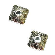 M7280p Antiqued Silver Unique Square 10mm Embellished Metal Bead Caps 20/pkg
