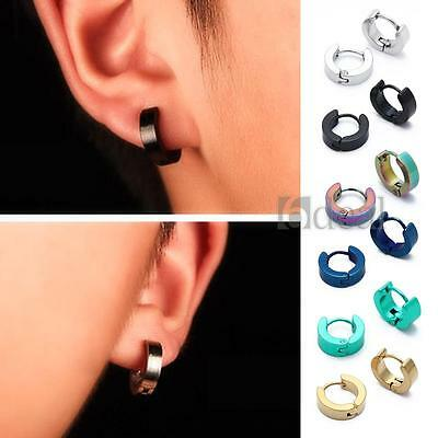 Pair Stainless Titanium Steel Gothic Ear Stud Mens Women Hoop Huggie Earrings