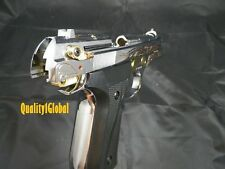 NEW FULL METAL DELUXE CHROME GOLD EKOL REPLICA BERETTA 92  MOVIE PROP Pistol Gun