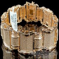 Men's Rose Gold Over Sterling Silver 1.5ctw Genuine Real Diamond Bracelet 8.5