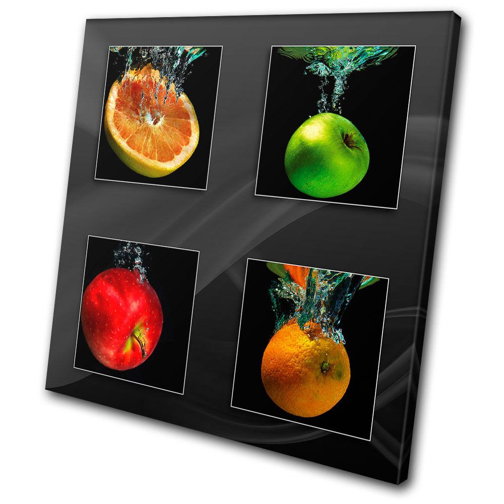 Food Kitchen Kitchen Kitchen Fruit Apple Splash SINGLE TELA parete arte foto stampa 24036e