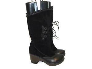 Jambu-8-5-Black-Suede-Riviera-Boots-Calf-High-Pull-On-Heels-Fall-Winter-8-1-2