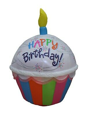 4 FT Tall Air Blown Inflatable Yard Decoration Colorful Birthday Cupcake Candle