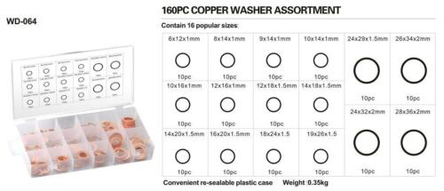 160pcs METRIC Copper Washer Assortment 16 Popular sizes m6 upto m28