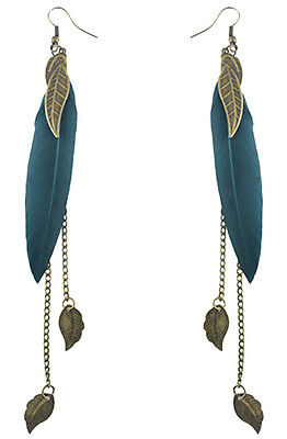 F1939F Turquoise Feather Earrings Chain Leaf Dangle Eardrop Handmade Jewelry